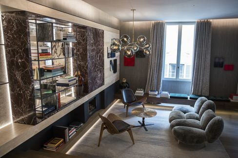 Furniture sits in the lobby of Fendi Private Suites inside Palazzo Fendi.