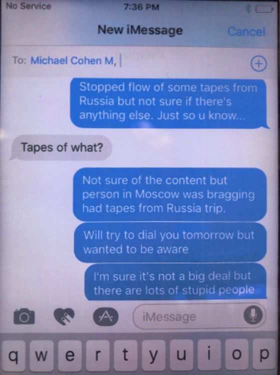 Georgian Businessman Offers More Texts With Cohen to Rebut Mueller Footnote