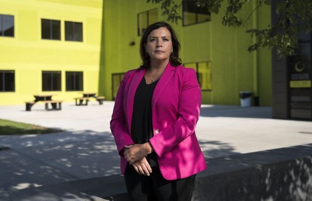 Allison O' Toole, CEO of Second Harvest Heartland, stands outside their headquarters in Brooklyn Park, Minnesota on July 23, 2020.