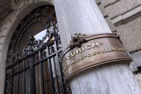The entrance to the main building of Zurich Insurance is seen in Zurich.