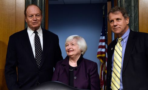 Senate Banking Committee Chairman Sen. Richard Shelby, R-Ala., left, and the committee's ranking member Sen. Sherrod Brown, D-Ohio, right, with Federal Reserve Board Chair Janet Yellen on Capitol Hill in Washington, on Feb. 24, 2015.
