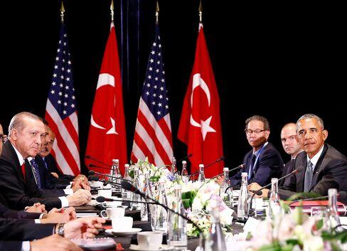 Tayyip Erdogan and Barack Obama during the G20 Summit on Sept 4.