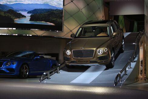 A Bentley Bentayga SUV automobile, produced by Bentley Motors Ltd., a luxury unit of Volkswagen AG (VW).