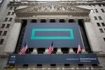Hewlett Packard Enterprise Co. signage is displayed outside of the New York Stock Exchange (NYSE) in New York,