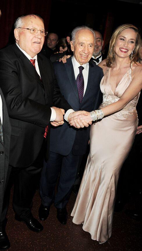 Mikhail Gorbachev, Shimon Peres, and Sharon Stone