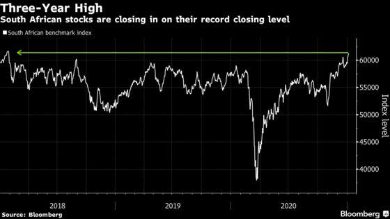 S. Africa Stocks Hit Three-Year High as Platinum Rally Resumes