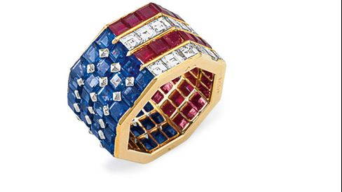A diamond, sapphire, and ruby ring by Bulgari