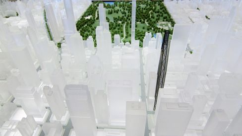 "A scale model shows 53W53's location near Midtown's ""Billionaires Row."""
