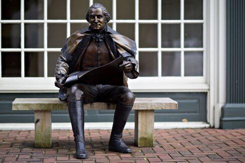 A bronze statue of George Washington in Smithfield.