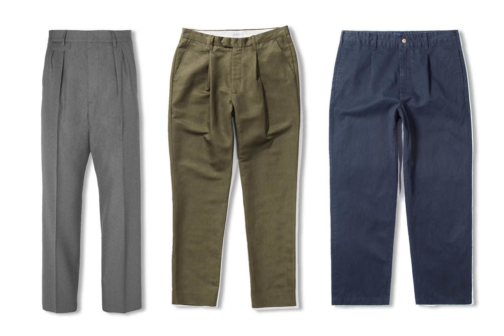 32a22c18 From left: Gucci Wide-Leg Pleated Wool Trousers ($780), Saturdays Gordy
