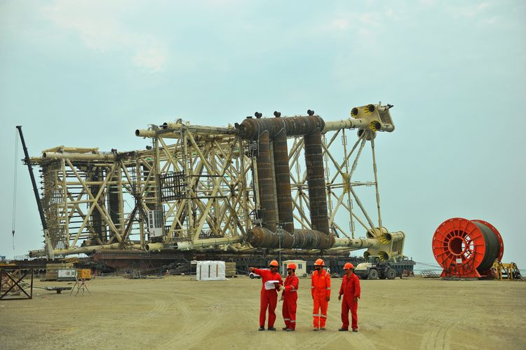 A platform awaits installation offshore in Azerbaijan's Shah Deniz gas field.