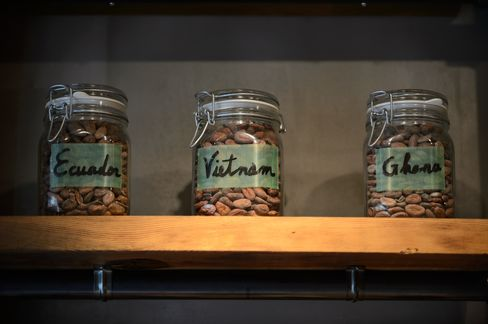 Jars of cacao beans from different countries.