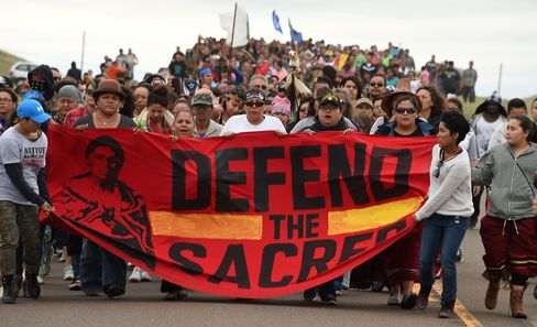 A march to the site of a sacred burial ground, on Sept. 4