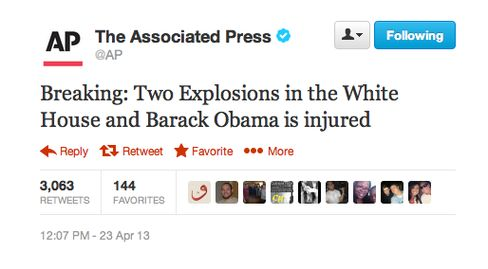 A fake tweet sent from the AP's official twitter account