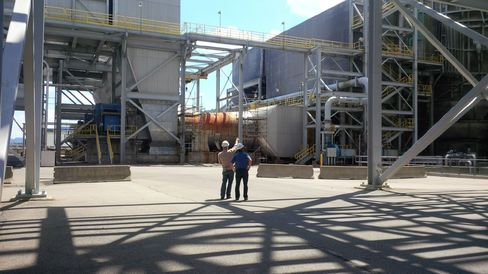 First Energy employees Hank Boka and Doug Colafella inspect the W.H. Sammis power plant in Ohio.