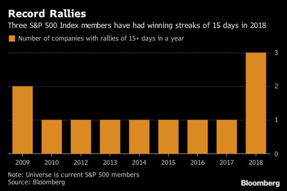 It's Been the Year of the Winning Streak for S&P 500 Companies