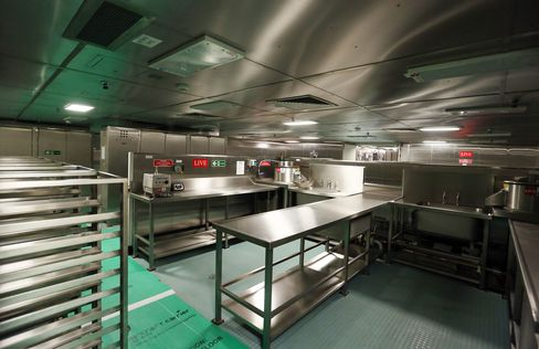 Equipment stands in a kitchen area on the British Royal Navy's new HMS Queen Elizabeth aircraft carrier.