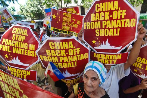 Protestors stage a rally demanding China pull out of the contested Scarborough Shoal in the South China Sea outside the Chinese Embassy in Makati City in April 2012.