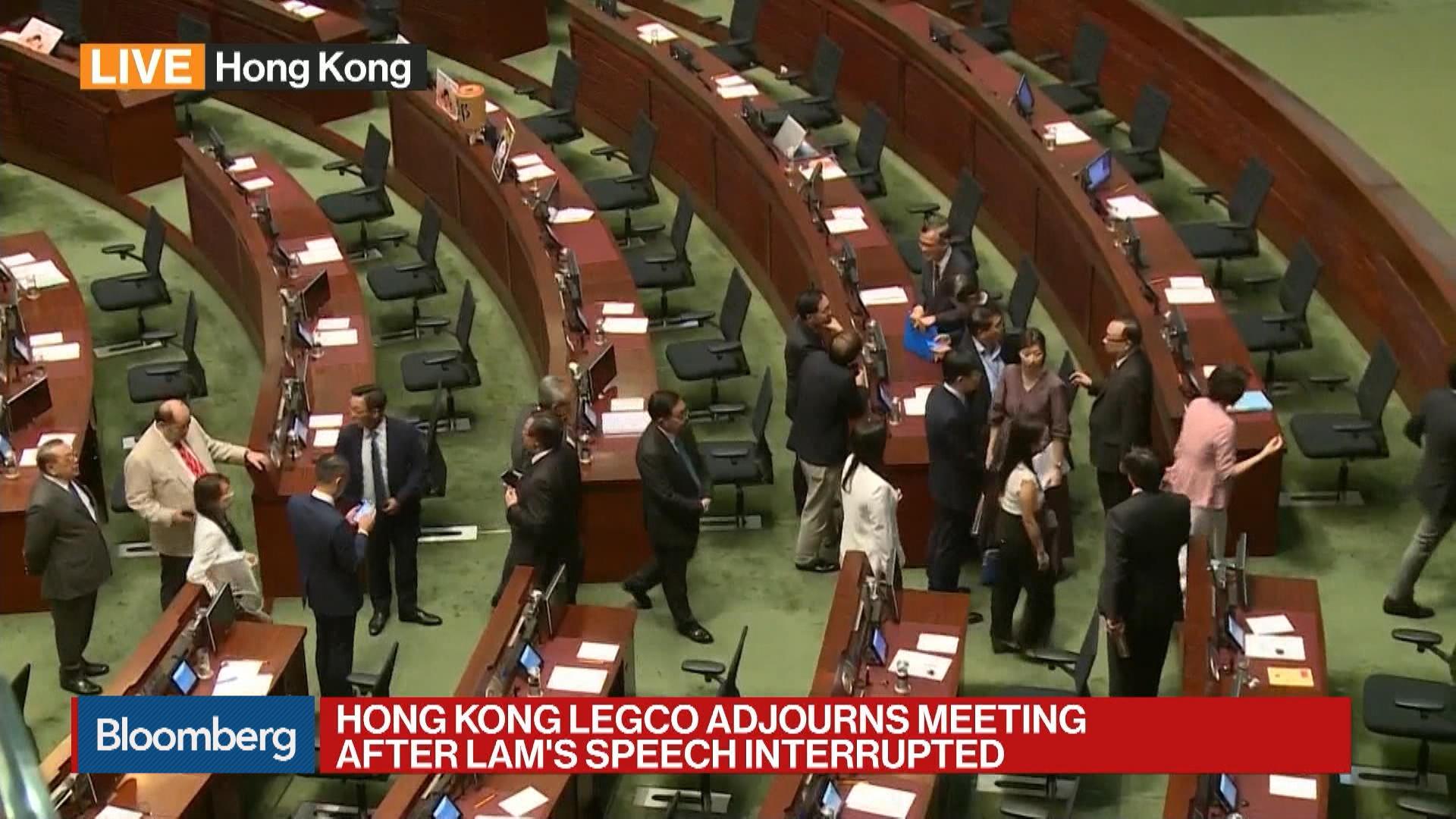 Hong Kong Legco Adjourns Meeting After Lam's Speech Interrupted