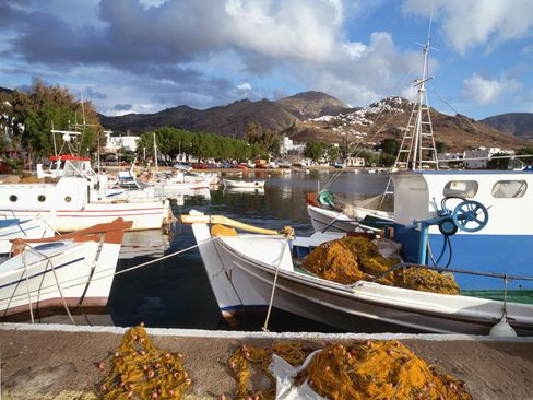 Fishing boats in the port of Livadi.