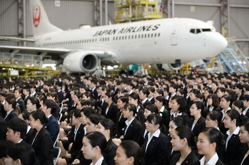 JALの入社式(羽田)