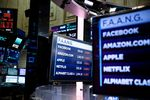 Monitors display FAANG stock information on the floor of the New York Stock Exchange (NYSE) in New York, U.S.