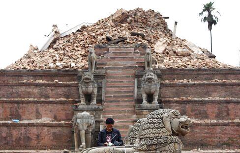 The earthquake damaged Durbar Square in Kathmandu on April 28, 2015.