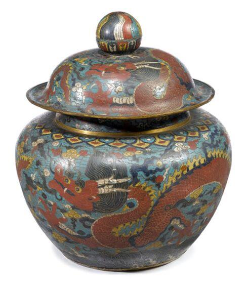 Ming era gilt bronze and cloisonne jar