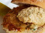 Mark Hix's Fish House burger with spiced tartare sauce.
