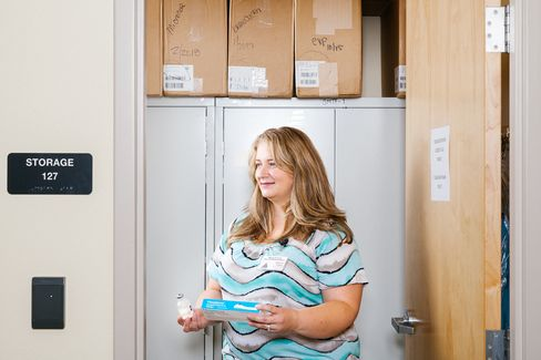 Katherine O'Reilly in the Mesa County Health Department's medical supply room.