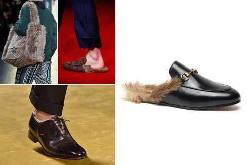 Fur accessories from the fall collections, clockwise from left to right: Fendi tote, Gucci loafers and Salvatore Ferragamo fur-lined shoes.