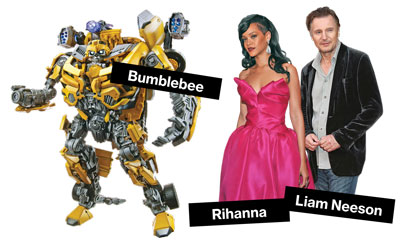The stars of 'Battleship' with Bumblebee from 'Transformers,' which generated $483 million in sales in 2011, almost 16 times 2005's figure