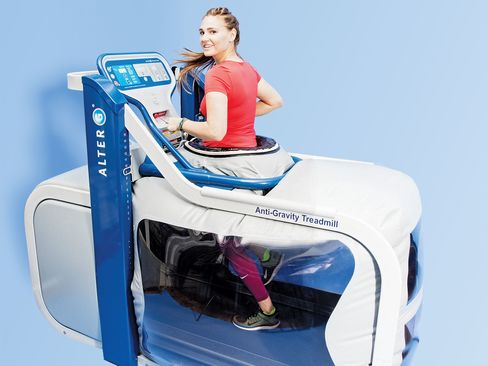 Trainer Cat Nadeau demonstrates the machine at New York's Finish Line Physical Therapy (from $10/half-hour for patients; $25/half-hour for nonpatients).