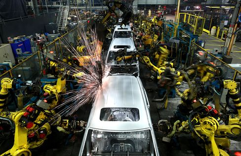 Robots weld car frames in Lincoln, Alabama.