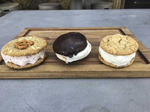 (Left to right) A red bean ice cream sandwich, a Korean chocolate and vanillasandwich, and a Spam ice cream sandwich.