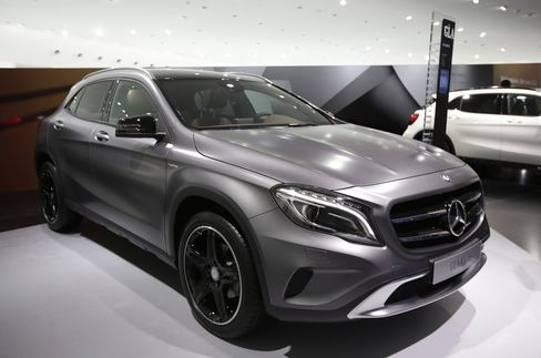 A Mercedes-Benz GLA Compact SUV Automobile Stands in Frankfurt