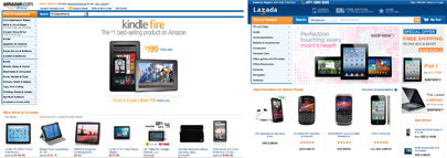 Left, Amazon's site; right, Lazada's (Click to enlarge)