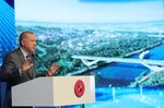 ISTANBUL, TURKEY - JUNE 26: Turkish President Recep Tayyip Erdogan makes a speech during groundbreaking ceremony for Sazlidere Bridge, part of Canal Istanbul mega-project, in Istanbul, Turkey on June 26, 2021. (Photo by Murat Kula/Anadolu Agency via Getty Images)