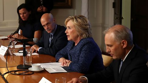 Democratic presidential nominee Hillary Clinton meets with national-security advisers on Sept. 9, 2016, in New York City.