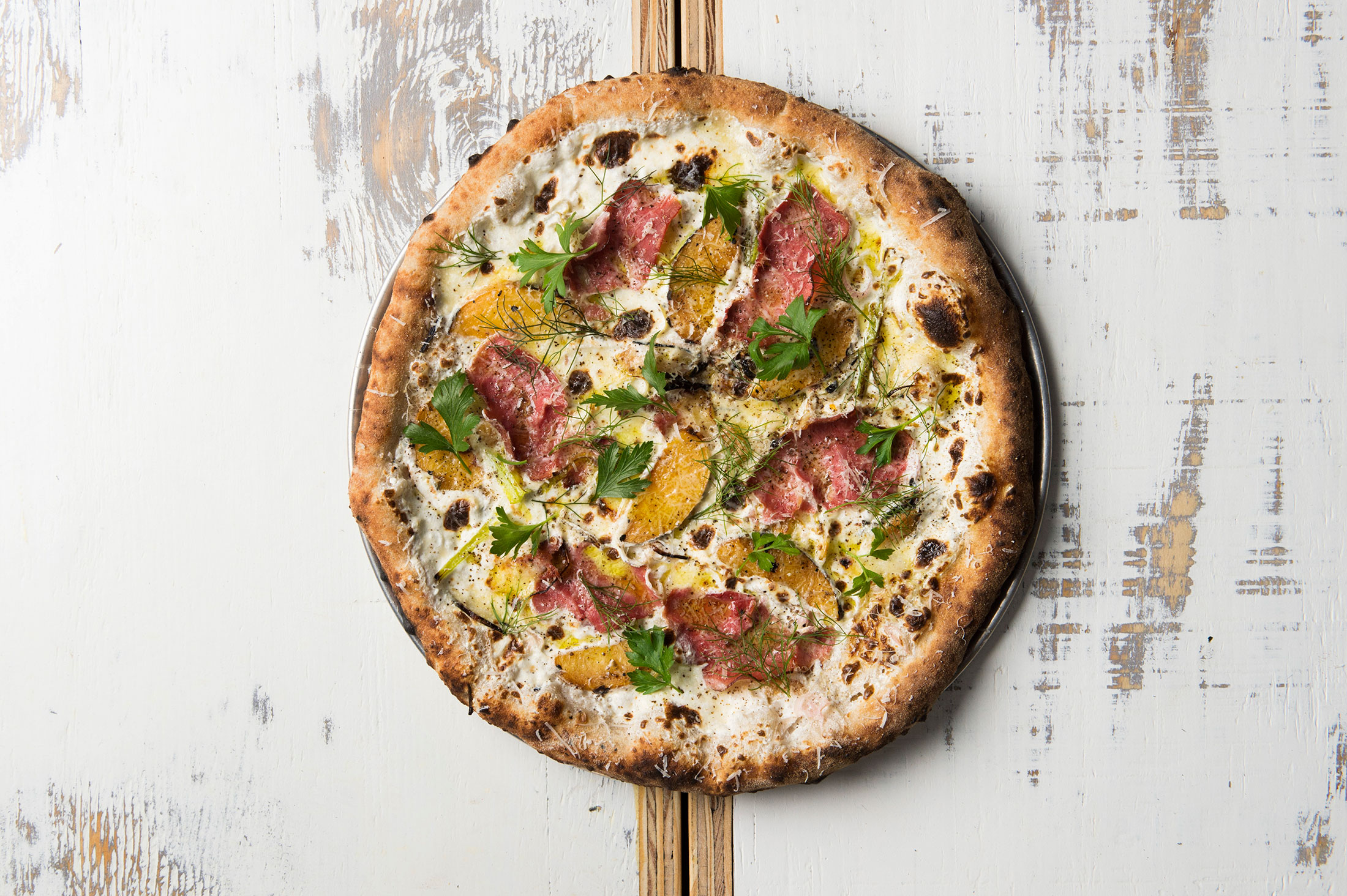 Country Ham and Peaches at Bruno Pizza
