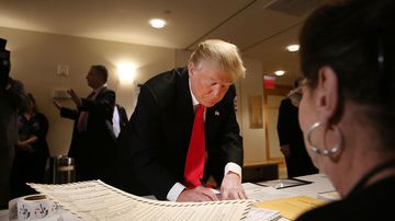 Republican presidential candidate Donald Trump votes on April 19, 2016, in New York City.