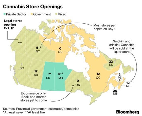 Cannabis Store Tally by Canadian Province on Day One: Map