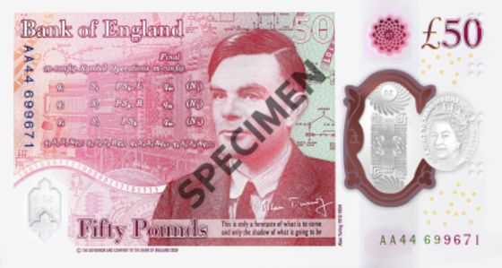 Bank of England Unveils 50-PoundNote Featuring Alan Turing
