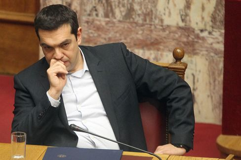 Greece's Prime Minister Alexis Tsipras speaks a plenary session of the Parliament in Athens