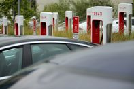 While California utilities await approval for their charging station buildout, Tesla is busy installing Supercharger stations in cities. By the end of next year, it plans to have more than 1,000 in California, like this one in San Diego.