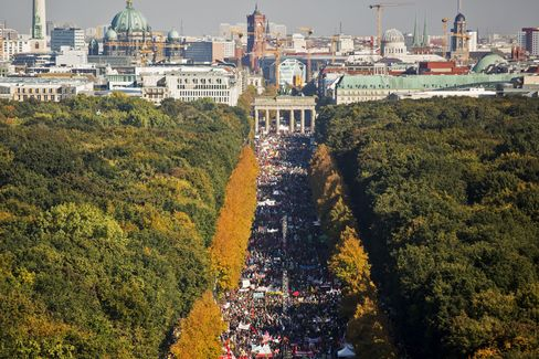 Protesters gather to demonstrate in Berlin on Oct. 10.