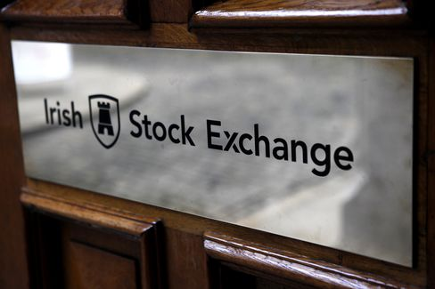 The Irish Stock Exchange Logo Sits at the Headquarters in Dublin