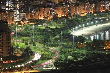 View of Rio's Flamengo Park and partial view of Flamengo beach at night.