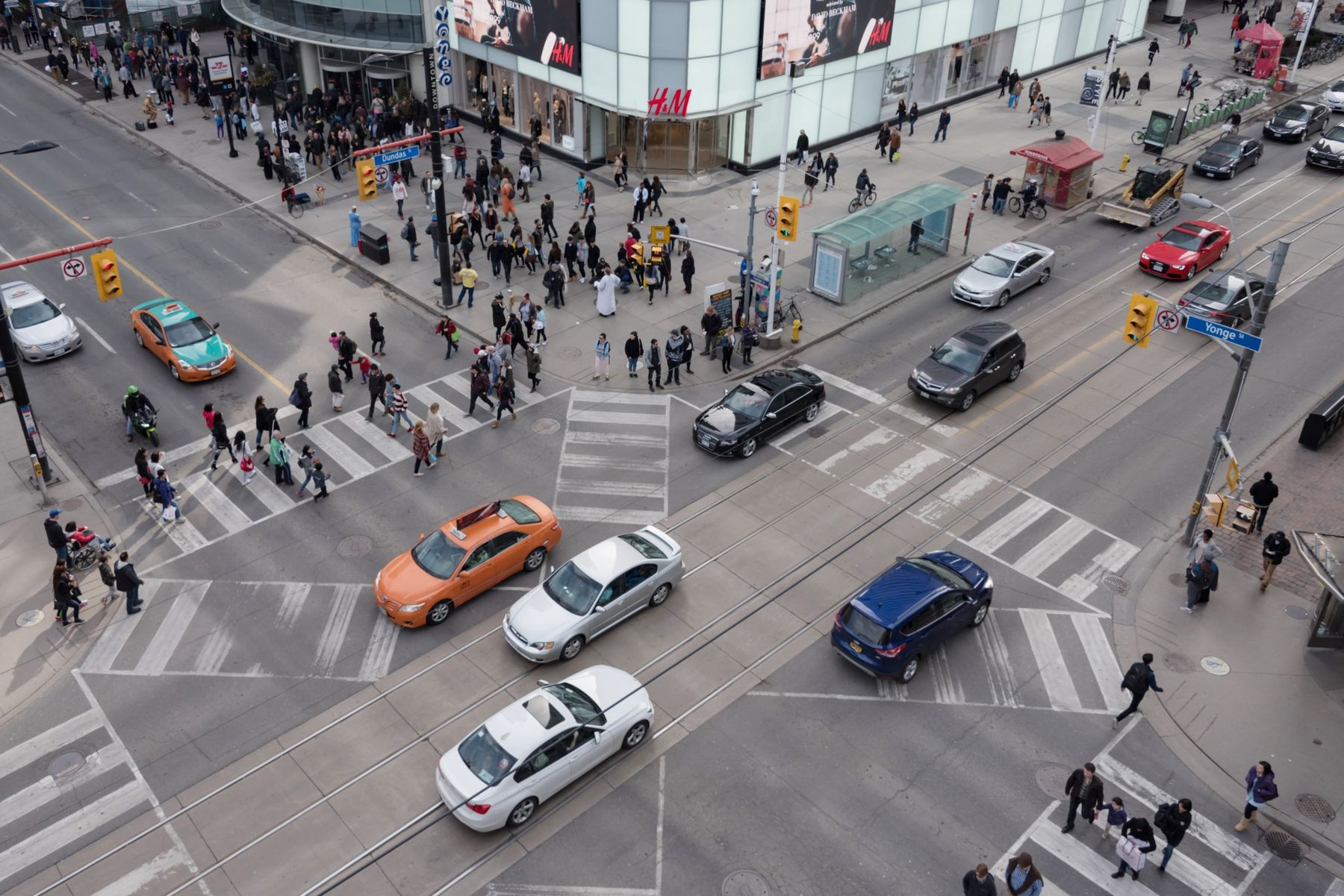 Aerial view of Dundas Square in the busiest intersection of the city: Yonge St. and Dundas St. The city council is now voting on a plan to rename streets named after Henry Dundas, a keyobstructionist in Toronto's early quest to abolish slavery.