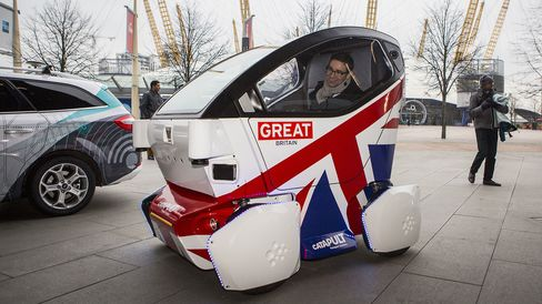 A driverless vehicle pod in central London on Feb. 11, 2015.